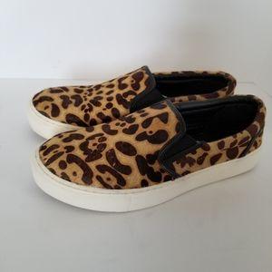 Mia Leopard Print Calf Hair Slip On Sneakers Sz 8